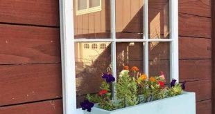 6 pane wood windows - wood window flower box - wood flower box ideas - garden boxes - outdoor decor - garden shed decor - rustic wood w