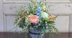 Spring Silk Flower Arrangement | Roses, Ranunculus, Freesia, Delphinium etc. in Rustic Wood Planter | Silk Flower Arrangement | Home Decor