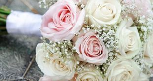 Pink and white wedding bouquet flowers