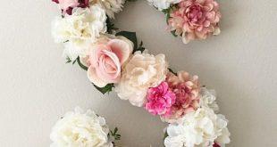 Carta floral grande, carta de la flor, carta de la guardería, ducha del bebé floral, inicial de la flor, decoración del vivero floral, regalo del bebé, prop, regalo de la boda
