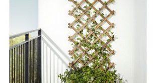 ASKHOLMEN Blumenkasten mit Spalier/außen - graubraun lasiert