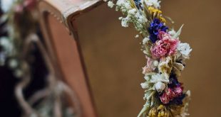Comic Book Confetti and Dried Flower Crowns for a Handmade Village Hall Wedding