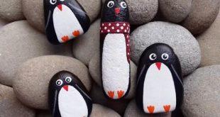 Familie Pinguin bemalt Steine Set von 4, von Hand bemalt Stein, Blumentopf Dekor, Stein Andenken, Pinguin, Pinguin Figur, bemalte Felsen Tiere