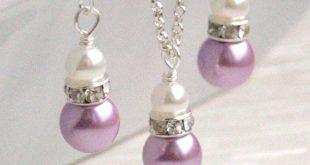 Lavendel Perlenkette, lila Set Halskette und Ohrringe, Blumenmädchen Schmuck, Brautjungfer Geschenk, Bridal Party Schmuck, Perlen Schmuck