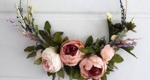 Modern Elegant Peony Wreath Minimalist Gift Home Decor Wedding Decoration Hoop W...
