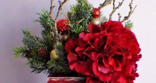 Silk flower arrangement, Ready to Ship, Christmas Arrangement, Red Arrangement, Pine, Table Centerpiece Christmas Gift
