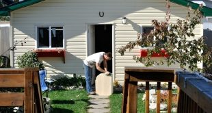 The Garage, deck, flower beds, flower boxes (made from old pallets) and working ...