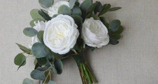 Wedding bouquet, eucalyptus bouquet, peony bouquet, cabbage rose bouquet, silk bouquet, bridal bouquet, wedding flowers, white, green