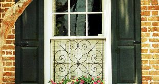 Window Photograph- Charleston SC Window Print, Window Box Photo, Flower Box Photo, Black Shuttered Window Photo, Black and Red Wall Art